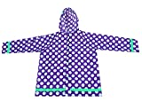 Iwea Kinder Regenjacke Gepunktet Regenmantel Outdoor Jacke Wasserdicht mit Kapuze in Punkte-Muster IW044, 7-10 Jahre