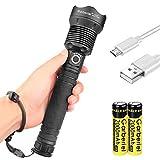 ShineTool Starkes Licht LED Taschenlampen, 3500LM XHP70 Hoch Leistungs Wasserdichte USB Taschenlampen mit Akku und USB Kabel, 3 Modi mit Leistungsanzeige Funktion für...