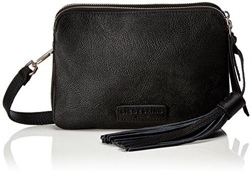 Liebeskind Berlin Damen Reno Zipper Umhängetasche, Schwarz (Oil Black), 5x18x23 cm (Leder-umhängetasche Pebble)