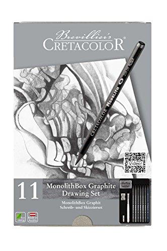 CRETACOLOR 204 30 - Monolith Set, 11-teilig mit Radierer und Anspitzer