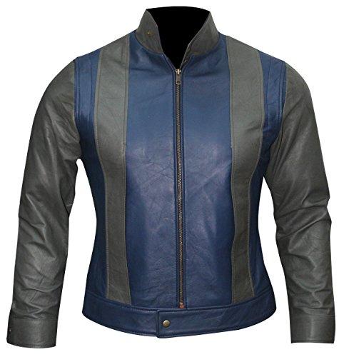 Apocalypse X Kostüm Men - Fashion_First Herren Superhelden-Lederjacke Scott Sommer Tye Sheridan Grau/Blau Gr. XL, Grau/Blau