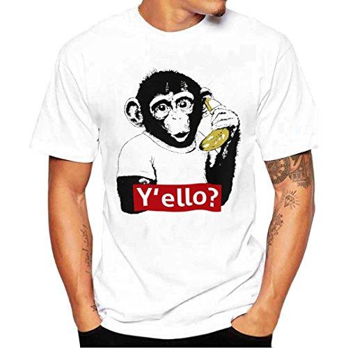 ❤️Tops Blouse Homme T-shirt, Amlaiworld Hommes Chemise d'impression de Singe T-shirt T-shirt Manches Courtes Blouse (M, Blanc)