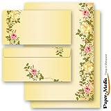 20 pezzi Set completo ROSE VITICCIO 10 fogli di carta da lettera e 10 buste DIN LANG (senza finestra)