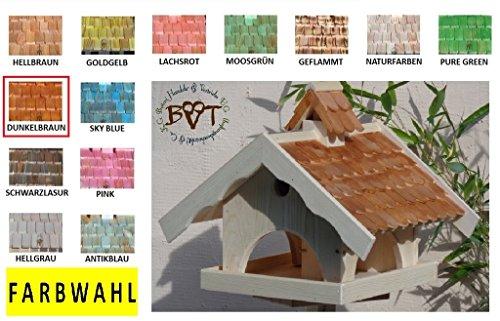Vogelhaus mit Nistkasten BTVK-VONI5-dbraun002,groß,wetterfest,PREMIUM-Qualität,Vogelhaus,VOGELFUTTERHAUS + Nistkasten 100% KOMBI MIT NISTHILFE für Vögel WETTERFEST, QUALITÄTS-SCHREINERARBEIT-aus 100% Vollholz, Holz Futterhaus für Vögel, MIT FUTTERSCHACHT Futtervorrat, Vogelfutter-Station Farbe braun dunkelbraun schokobraun rustikal klassisch, Ausführung Naturholz MIT TIEFEM WETTERSCHUTZ-DACH für trockenes Futter - 4