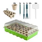 Zimmergewächshaus Gewächshaus Set mit 60 Anzuchttöpfen und 20 Pflanzenschildern Treibhaus Pflanzentöpfe