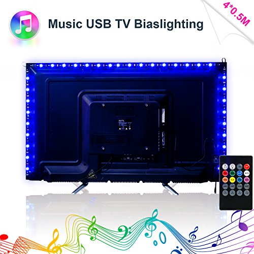 "Musik LED Strip, Sync to Beats von Musik RGB 2M / 6.56ft LED Streifen IR Musiksteuerung LED Beleuchtung für 40-60"" LED Fernseher Beleuchtung, USB Flexiblem TV Hintergrundbeleuchtung"