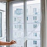 LUPO Großes Weißes Moskitonetz Insekt Fenster Schirm Ineinander Greifen - Justierbare Haken und Schleifen Befestiger - 1.3m x 1.5m
