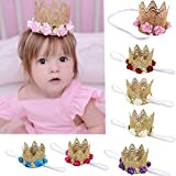 Voberry Baby-Girl's Crown Headbands Toddler Princess Hair Bands 3 Months to 3 Years Old Baby Hot Pink
