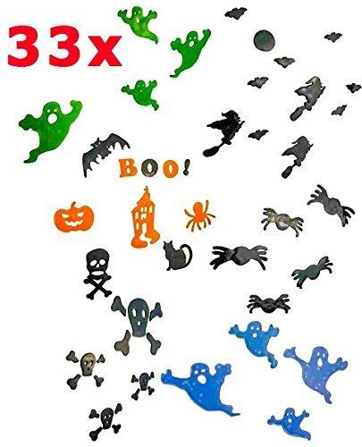 Halloween 3D Dekoration Set | Gel Fensteraufkleber | 33 Teilig | XXL - Dekoset | Top Qualität | Fenster oder Türen | Aufkleber | wiederverwendbar | Gruselig | Gel-Sticker | (Von Kostüme Bilder Clown)
