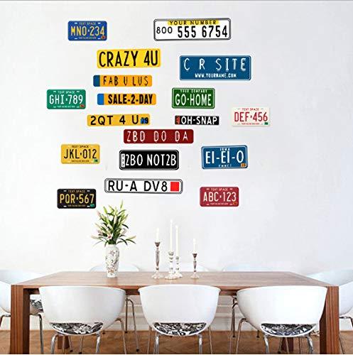 TOYP Amerikanischen Nummernschild Wandaufkleber für Wohnzimmer Schlafzimmer Bad Kinderzimmer Wanddekorkunst Abnehmbare Aufkleber Wandbild - Nummernschild änderung 2.