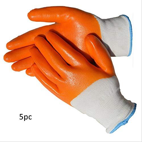 QQA Arbeit Handschuhe Latex Beschichtet Orange Wasserdicht Und Tragbar Gummi Männer Sicherheit Erbauer Gartenarbeit M,1 - Gummi Beschichtete Arbeits-handschuhe