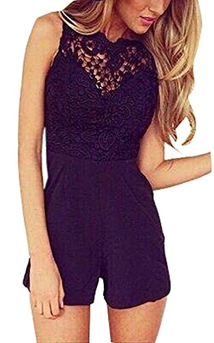 Damen Sommer Elegant Jumpsuit Mit Spitze Playsuits Casual Kurz Overall Stitching Aushoshlen Slim Fit Mit Reißverschluss Einfarbig S-Xl