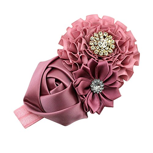 Sanwood Baby Girls Rhinestone Headband Ribbon Hair Band (Lime Pink)