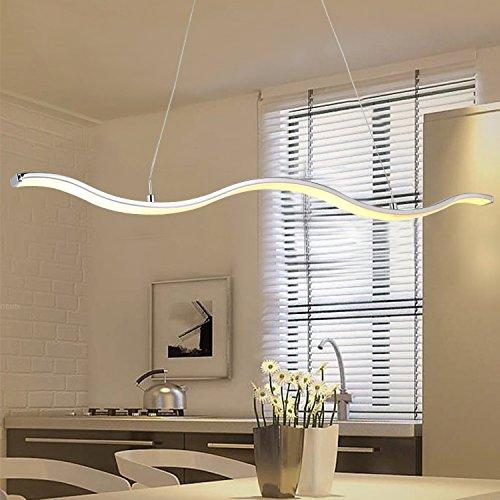 N3 Lighting Moderne Design LED Pendelleuchte Esszimmer, Pendellampe, Hängelampe, Esstischleuchte, Dimmbar, höhenverstellbar, Metall Warmweiß, 30W, Chrome, 107 x 120 cm