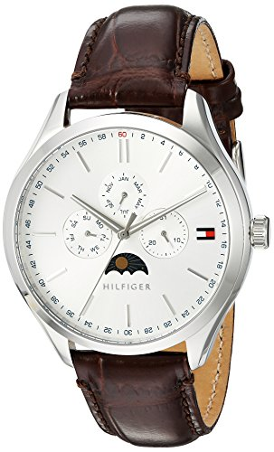 Tommy Hilfiger Men's 'OLIVER' Quartz Stainless Steel and Leather Casual Watch, Color Brown (Model: 1791304)