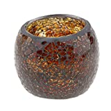 non-brand MagiDeal Mosaikglas Teelichthalter Teelicht Windlicht Kerzenhalter Mosaikglas Kugel bunt Ornament - Braun
