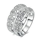 Bishilin Damen Ringe Versilbert 2 Ringee Weiß Zirkonia Rund Hochzeitsringe Eherring Silber Partner Ring Größe 54 (17.2)
