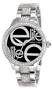 Elite Models' Fashion - E52454S-203 - Montre Femme - Quartz Analogique - Cadran Noir - Bracelet Acier Argent