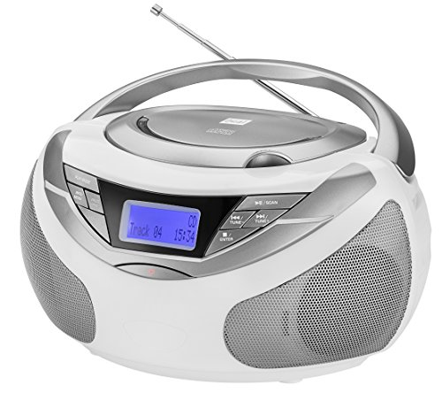 Dual DAB-P 150 Boombox mit Digitalradio (CD-Player (MP3), DAB+/UKW-Radio, AUX-IN, Stereoklang) Weiß - Cd-radio Boombox Mp3