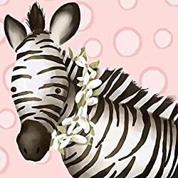 Oopsy Daisy Zoey The Zebra Canvas Wall Art, Pink, 10