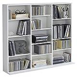 WILMES CD-Regal mit 13 Fächern, Spanplatte Melamin beschichtet, Korpus Weiß Melamin Dekor, 102 x 23 x 90 cm