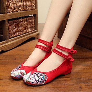 Da donna-Oxford-Tempo libero Casual Sportivo-Comoda Innovativo Scarpe ricamati-Piatto-Di corda-Nero Beige Rosso Blu ruby