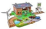 Majorette 212050007 - Creatix Farm Stable Playset, Bauernhof Spielset inkl. Traktor mit Anhänger und Tieren, Spielzeugbauernhof mit Zubehör, Die-Cast
