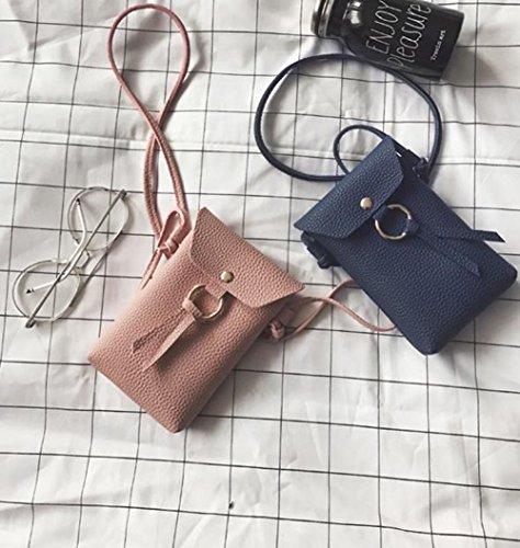 Outflower donne borsa a tracolla messenger bag moda casual Wild mobile phone bag borsetta portamonete mobile phone Accessories Storage Bag nero Black 11*17*3cm Black