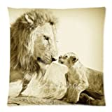 Vintage Safari Baby Animals Lion African Wildlife Throw Pillow Case Cushion Covers Square 18x18 Inch