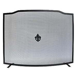 MAURER Pantalla Chimenea Negra 62×80 cm, Metal, Multicolor, Unica