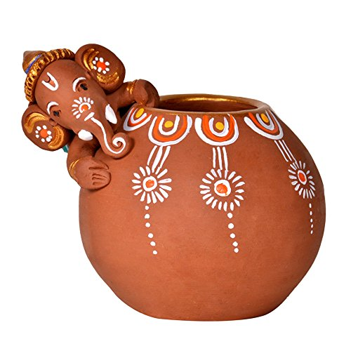 ExclusiveLane Terracotta Handpainted Baby Ganesha Rolling On The Matki / Ganesha Idol Show Piece  available at amazon for Rs.574