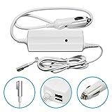 Original iProtect® Adaptador cargador universal para coche 85 W para Apple MacBook con MagSafe 1 Cargador alimentación de red + 2 conexiones USB adicionales para iPhone / iPad, blanco - iprotect - amazon.es