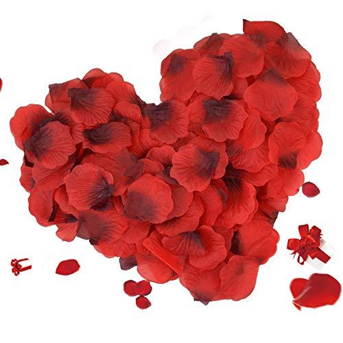 Asanmu 3000 pezzi petali di rosa rossa, petali di fiori finti, petali di rose rosse decorazioni per matrimonio, san valentino e fidanzamento, proposta di matrimonio, festa della mamma, natale