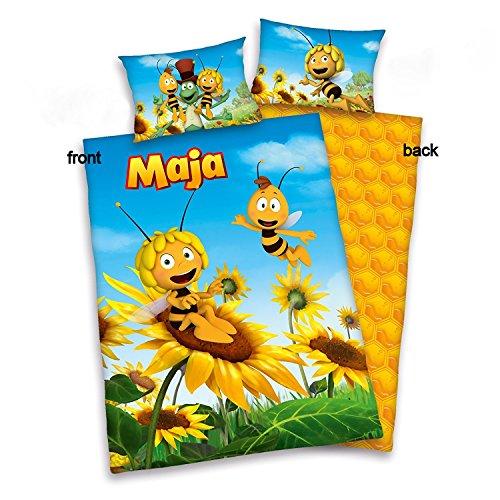 3 tlg. Baby Bettwäsche Wende Motiv: Biene Maja 3D - Flanell 100x135 cm + 40x60 cm + 1 Spannbettlaken in weiß 70x140 cm (Honig Bettbezug)