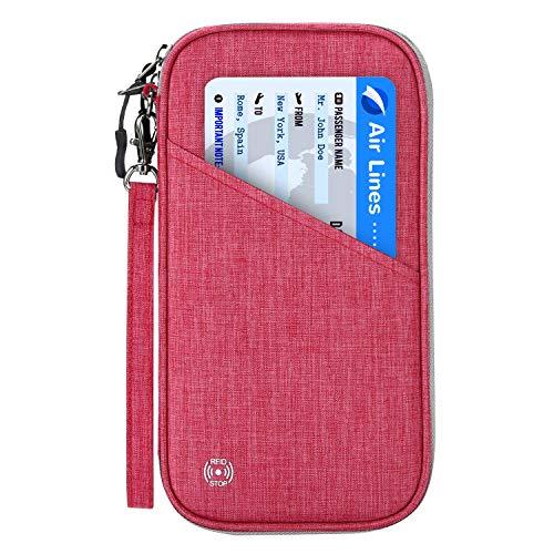 Reisepass Tasche Reisepasshülle RFID-Blocker Schutzhülle | Familien Reise Brieftasche Pass Hülle Passport Etui Ausweistasche Dokumente Organizer für Damen/Herren 25 x 14 cm (Rosarot)