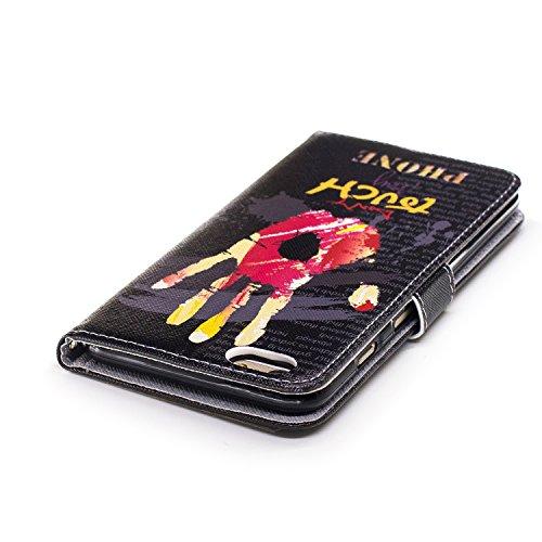 Coque Housse Etui iPhone 6S Plus Cuir PU - Aeeque® Coque à Rabat Fonction Portefeuille de Carte Slots Support Bouton Magnétique Case Housse Cover Coque iPhone 6 Plus / 6S Plus 5.5 pouce [Plumes de Cam Motif #23