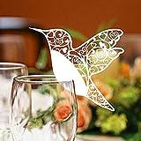 Y56 50 stücke Schmetterling Liebe Vogel Tisch Mark Weinglas Name Tischkarte für Hochzeit Party Decor Cup Dekoration Papier Karte Tischnummer Tischkarten Tasse Deko (Weiß)