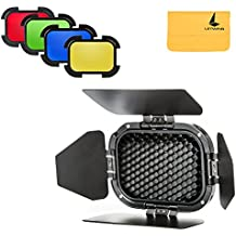 LETWING GODOX BD-07 Dedicada Granero Puerta con Honeycomb Grid y 4 Color Gel Filtros(Amarillo, Verde, Rojo, Azul) para GODOX AD200 Pocket Speedlite Fresnel Flash Cabeza + LETWING Limpia paño (BD-07)