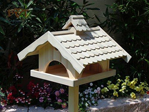 Vogelhaus XXL, vogelhäuschen BTV-VONI5-LOTUS-LEFA-grau002 Robustes, stabiles wetterfestes PREMIUM Vogelhaus mit wasserabweisender LOTUS-BESCHICHTUNG VOGELFUTTERHAUS + Nistkasten 100% KOMBI MIT NISTHILFE für Vögel , FUTTERHAUS für Vögel, WINTERFEST - MIT FUTTERSCHACHT Futtervorrat, Vogelfutter-Station Farbe grau hellgrau lichtgrau taupe / natur NEU, Ausführung Naturholz MIT TIEFEM WETTERSCHUTZ-DACH für trockenes Futter, Schreinerarbeit aus Vollholz