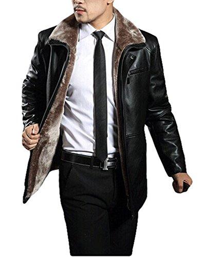 plaer hommes de plus d'hiver Manteau en velours veste en cuir épais en cuir d'agneau pour voiture Noir - Noir