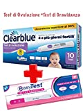 Clearblue Test di Ovulazione Digitale con Doppio Indicatore Ormonale, 10 Test Sticks + Test di Gravidanza...