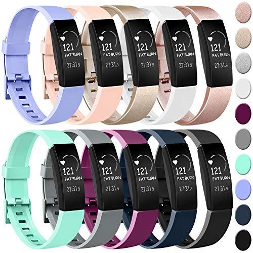 Amzpas Compatible pour Fitbit Inspire Bracelet & Fitbit Inspire HR Bracelet, Classique Bracelet Bande de Remplacement Compatible pour Fitbit Inspire HR (#10 Pack, S)