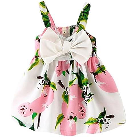 bobora infantil niñas vestidos Peach limón arco sin mangas vestido de fiesta cumpleaños–edad 1–4Y