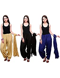 Fashion Store Women Cotton Patiala Salwar With Dupatta Combo Of 3 (Free Size, Black & Blue & Skin Colour