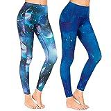 Munvot Yoga Leggings Damen mit Taschen Sporthose Yogahose Tights Fitnesshose Sport Leggings für Damen - A1801 / 2er Pack (Merkur + Neptun)/M (38-40)