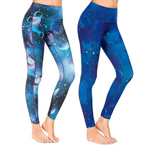 Munvot Munvot Yoga Leggings Damen mit Taschen Sporthose Yogahose Tights Fitnesshose Sport Leggings für Damen - A1801 / 2er Pack (Merkur + Neptun)/XS(DE34-36)