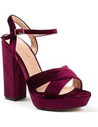 Ideal Shoes - Sandales ouvertes à talon carré effet velours Jacquie