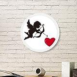 Cupidon Ange Cadre photo rond en bois Motif cœur rouge Blanc, S