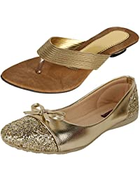 AUTHENTIC VOGUE Women's Combo Pack Of Partywear Shiny Golden Flat Sandal & Ballerinas (Combo Pack Of 2)