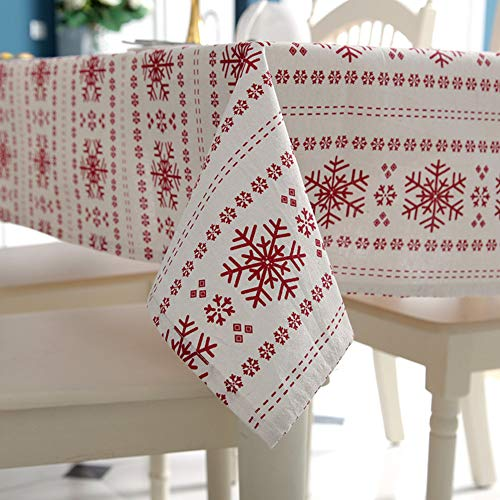 JiaQi Staubdicht Drucken Tischdecken,Rechteck Schneeflocke Tisch-Abdeckung,Tisch Decken Ideal für Buffet-Tisch Auf Hochzeiten oder Weihnachtsessen-A 140x200cm(55x79inch) (Tisch Schneeflocke Decken)